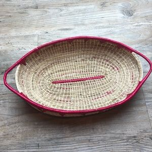 Pink wicker catch all basket boho style